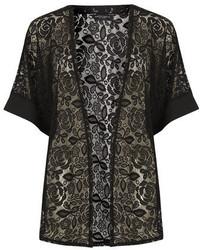 Dorothy Perkins Black Floral Lace Kimono