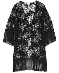 Miguelina Simone Fringed Cotton Lace Kimono