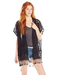 My Michelle Solid To Lace Kimono With Fringe Detail