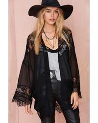 Nasty Gal Sheer Caress Lace Kimono Black