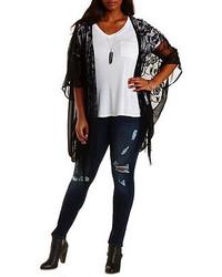 Charlotte Russe Plus Size Lace Chiffon Fringe Kimono