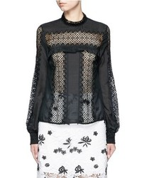 Self-Portrait Balloon Sleeve Guipure Lace Panel Blouse