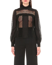 Self-Portrait Balloon Sleeve Lace Panel Top