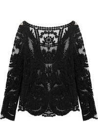 Choies Black Crochet Lace Long Sleeve Top With Mesh Panel