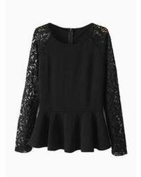 Choies Black Peplum Shirt With Lace Sleeves
