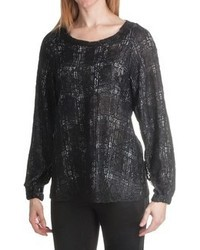 Paperwhite Lace Overlay Plaid Blouse Long Sleeve