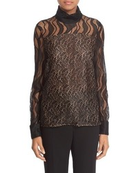 Prabal Gurung Mock Neck Feather Lace Blouse
