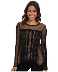 BCBGMAXAZRIA Addyson Lace Blocked Long Sleeve Shirt