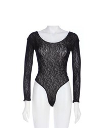 Electric Black Lace Boat Neck Long Sleeve Bodysuit
