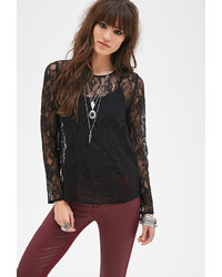 Forever 21 Floral Lace Blouse