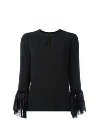 Saint Laurent Lace Cuff Long Sleeve Blouse