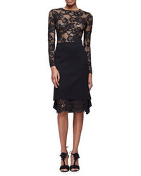 Oscar de la Renta Long Sleeve Floral Lace Pullover Top Black