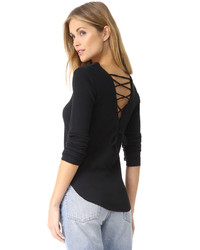 Long sleeve lace back tee medium 5364179