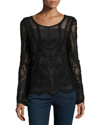 Neiman Marcus Long Sleeve Scoop Neck Lace Top Black