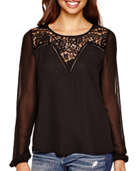BELLE + SKY Long Sleeve Top With Lace Detail