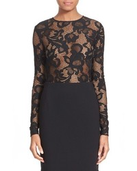 Oscar de la Renta Floral Lace Stretch Blend Top