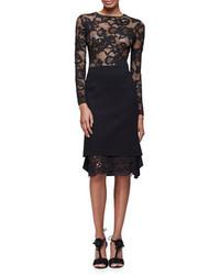 Oscar de la Renta Long Sleeve Floral Lace Pullover Top Black