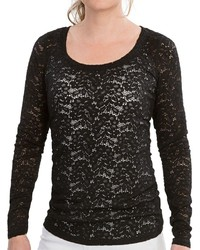 Specially Made Stretch Lace Shirt Scoop Neck Long Sleeve