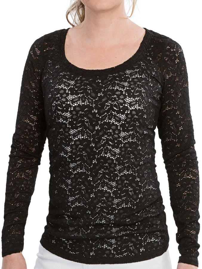 d0340ccbea8 ... T-shirts Specially Made Stretch Lace Shirt Scoop Neck Long Sleeve ...