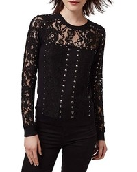 Topshop Studded Lace Top