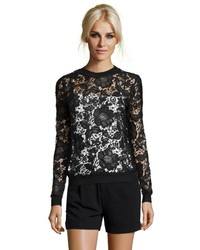 Wyatt Whisper White Floral Lace Long Sleeve Top