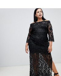 Paper Dolls Plus Sequin Lace Bardot Maxi Dress With Side Splits In Black