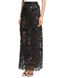 Johanna ortiz cana lace high waist maxi skirt black medium 5387940