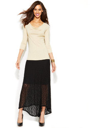 INC International Concepts Lace High Low Maxi Skirt