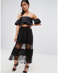 Lace insert maxi skirt medium 3727441