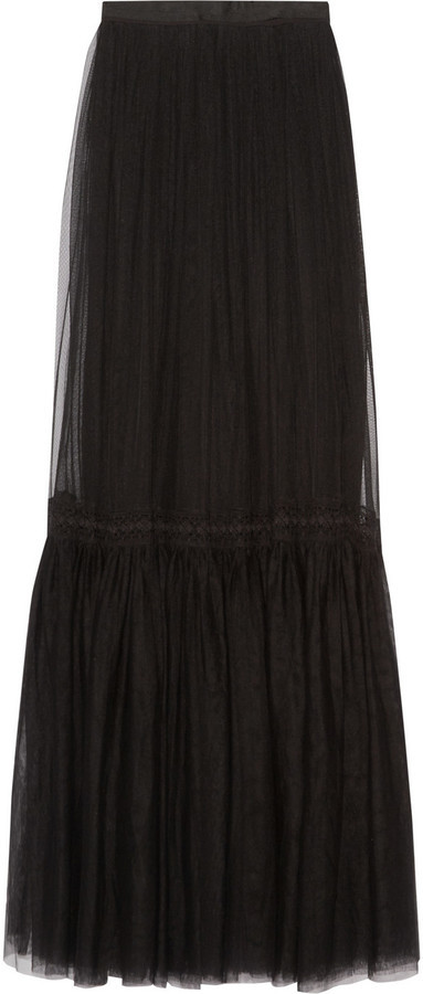 f5582e5fe9 Needle & Thread Lace Trimmed Tulle Maxi Skirt Black, $340 | NET-A ...
