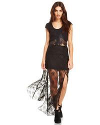 Line Dot Line Dot Deep Lace Maxi Skirt In Black Xs S