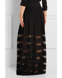 ab83e2f3f ... Michael Kors Michl Kors Collection Lace Paneled Silk Georgette Maxi  Skirt Black ...