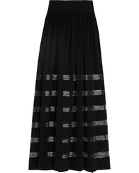 Michael Kors Michl Kors Collection Lace Paneled Silk Georgette Maxi Skirt Black