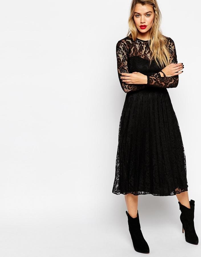 a9bb430c595 $86, Asos Collection Lace Pleat Midi Dress