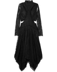 Alexander McQueen Asymmetric Cutout Lace Midi Dress