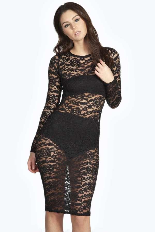 f2007dd78b285 Boohoo Matilda All Over Lace Sheer Midi Bodycon Dress, $37 | BooHoo ...