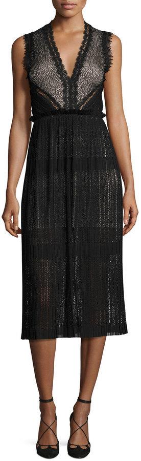 a0066b8423031 Alexis Bryana Sleeveless Plisse Lace Midi Dress Black, $497   Neiman Marcus    Lookastic.com