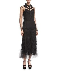 RED Valentino Button Front Lace Macrame Midi Dress Black