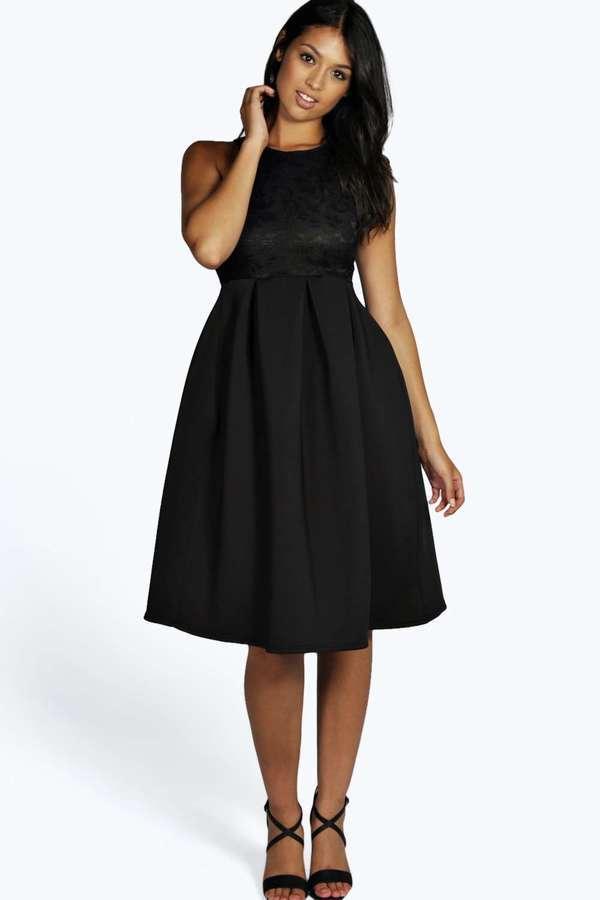 3bda109298 ... Black Lace Midi Dresses Boohoo Daisy Lace Bodice Scuba Midi Skater Dress  ...