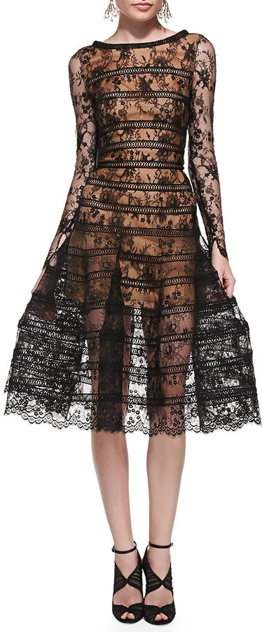 Oscar de la Renta Long Sleeve Lace Overlay Midi Dress   Where to buy ...