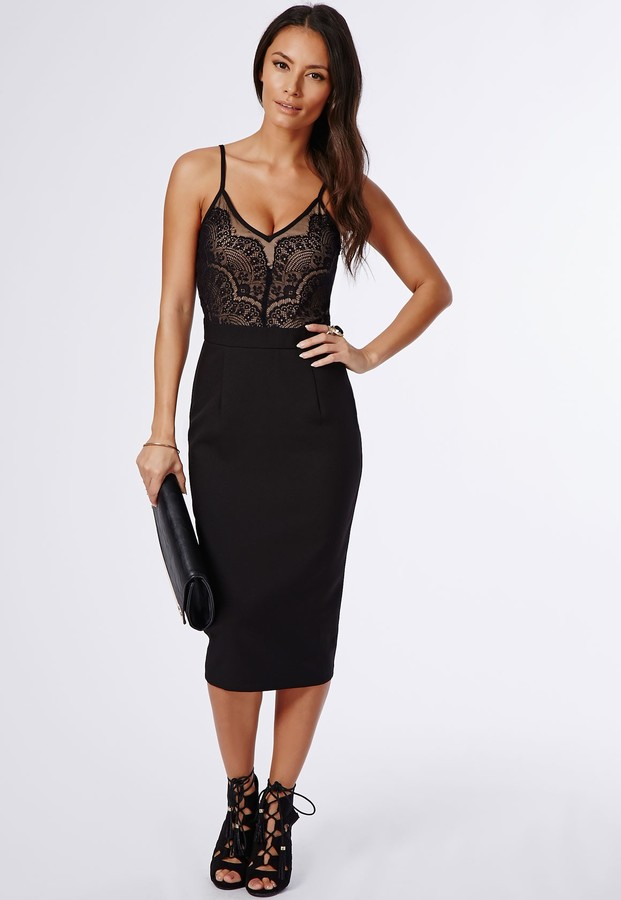 ad8781159a44 ... Missguided Pennie Strappy Lace Top Midi Dress Black ...