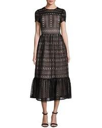 Kate Spade New York Short Sleeve Lace Midi Dress Black