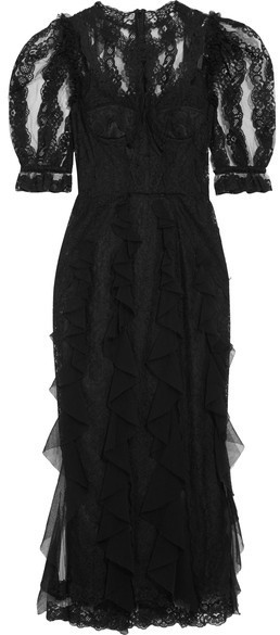 5de450787dbc Dolce & Gabbana Ruffled Lace And Tulle Midi Dress Black, $8,995 ...