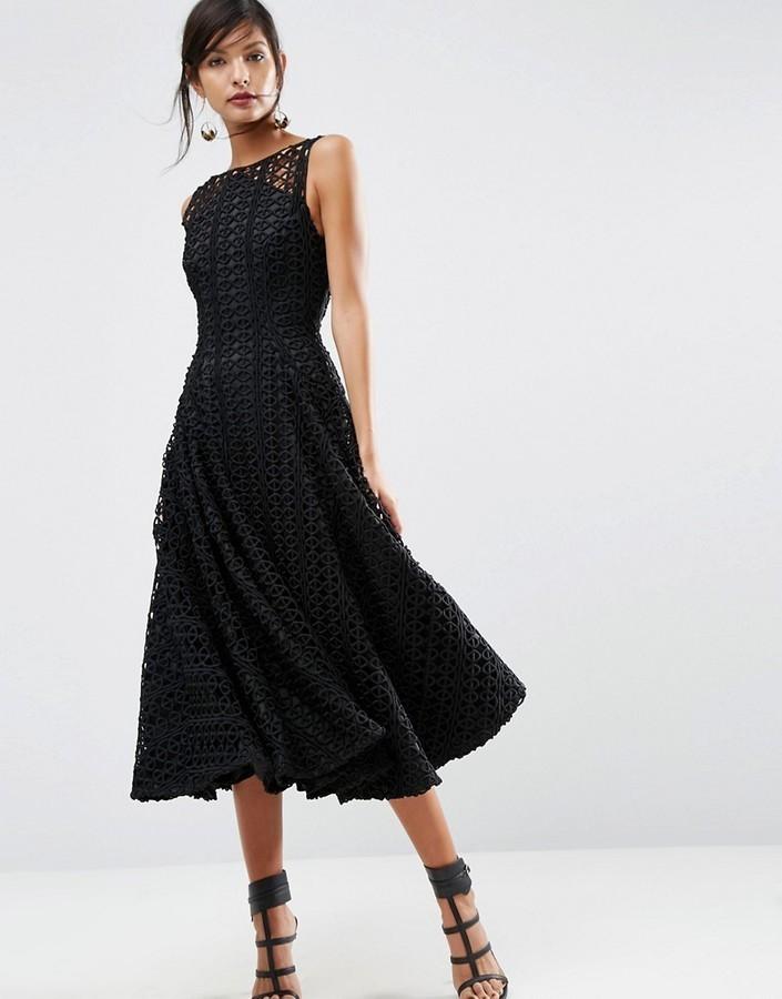 40fb8e1b5995 Asos Salon Extreme Lace Bonded Black Midi Prom Dress, $181 | Asos ...
