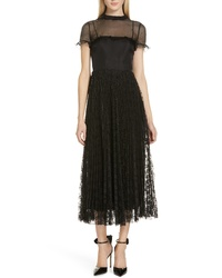 RED Valentino Studded Yoke Lace Skirt Maxi Dress