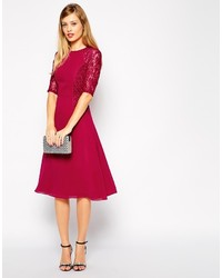 70f6933f7c ... Asos Tall Midi Skater Dress With Lace Panels
