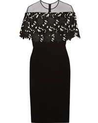 Lela Rose Tulle Paneled Guipure Lace And Stretch Wool Blend Crepe Dress Black