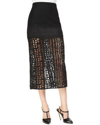 Cashmere blend lace combo midi skirt medium 341603