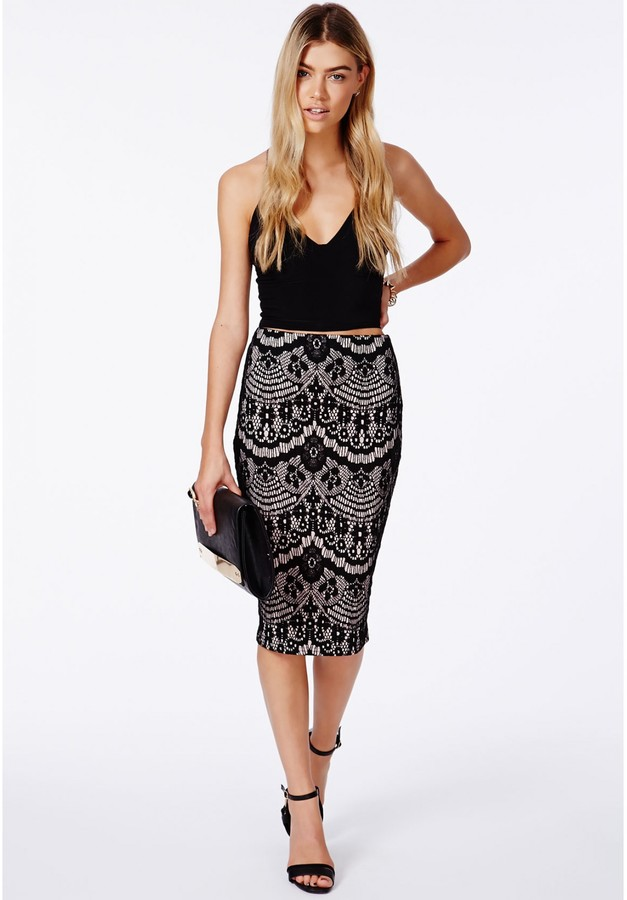 missguided aurelia black lace midi skirt where to buy