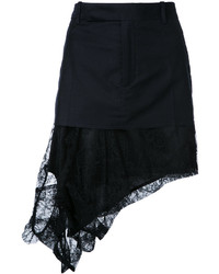 A.F.Vandevorst Asymmetric Lace Hem Mini Skirt